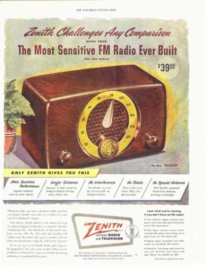 "Zenith Fm Radio ""Major"" (1949)"