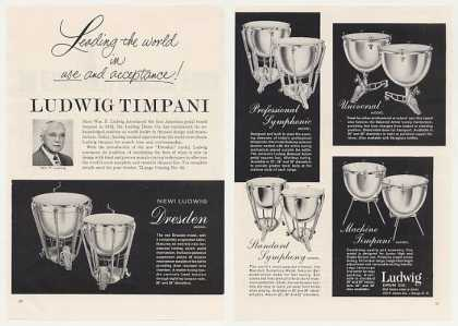 Ludwig Timpani Drums 5 Models 2-Pg Photo (1963)