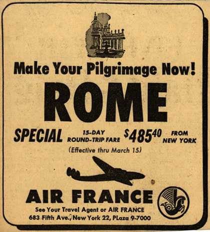 French National Airline's Rome – Make Your Pilgrimage Now (1950)