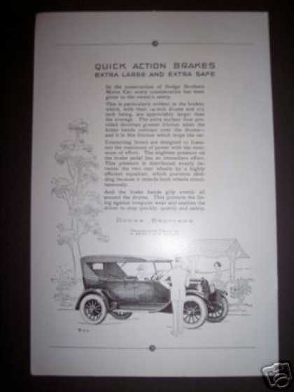 Antique Dodge Brothers Car Ad Quick Action Brakes (1923)