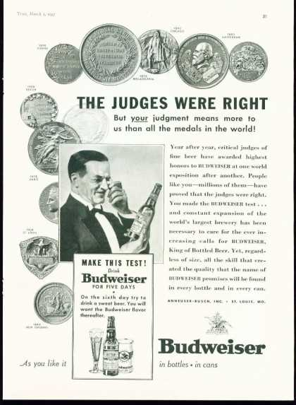Budweiser Beer the Judges Were Right Advertisem (1937)