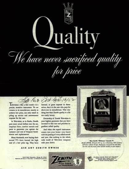 Zenith Radio and Television's Whitman Console Television – Quality: We have never sacrificed quality for price (1952)