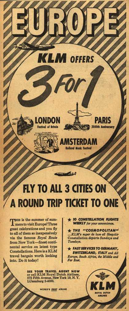 KLM Royal Dutch Airline's Summer Travel Values – Europe KLM Offers 3 For 1 (1951)