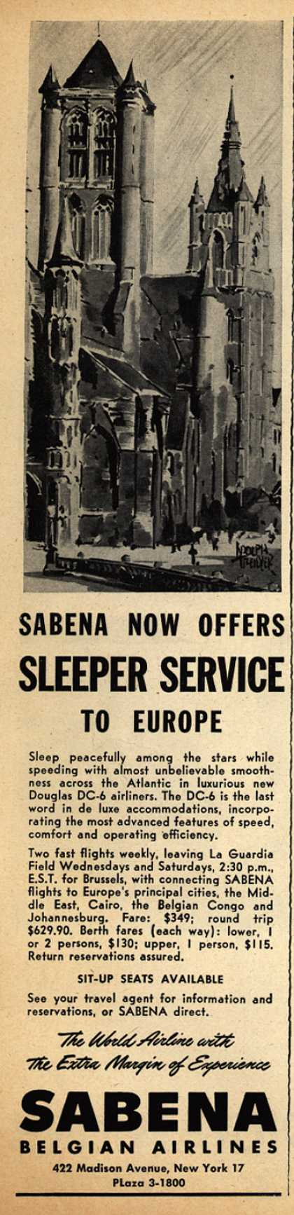 Sabena Belgian Airline's Sleeper Service to Europe – Sabena Now Offers Sleeper Service to Europe (1947)