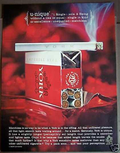 Original York Cigarettes Unfiltered (1963)