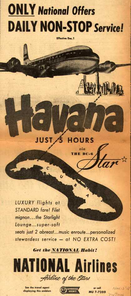 National Airline's Havana – ONLY National Offers DAILY NON-STOP Service (1951)