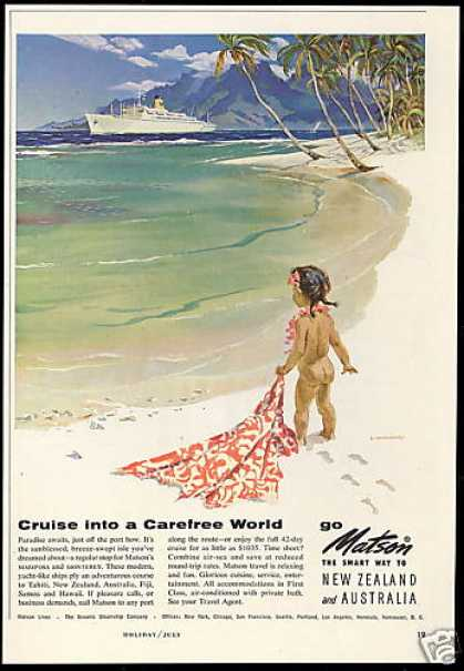 Matson Lines Cruise Ship Macouiliard Girl Art (1958)