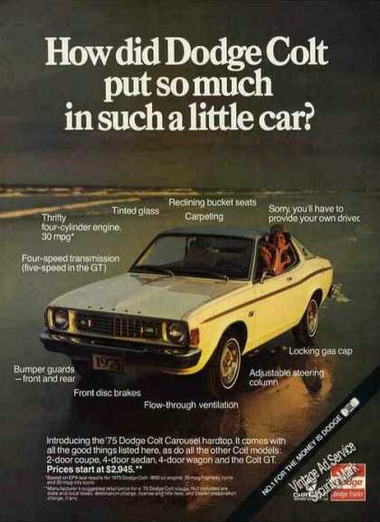 How Did Dodge Colt Put So Much In Little Car (1975)