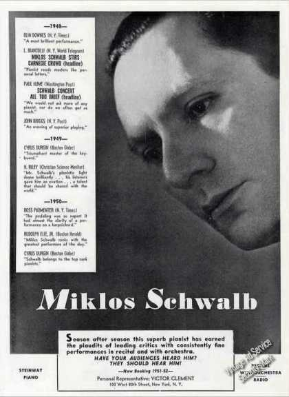Miklos Schwalb Closeup Photo Pianist Booking (1951)