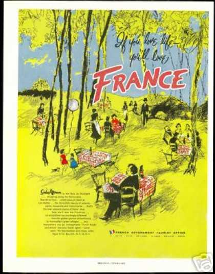 France Outdoor Dining Art Vintage Travel (1955)