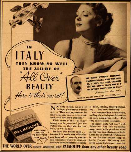 "Palmolive Company's Palmolive Soap – In Italy They Know So Well The Allure of ""All Over"" Beauty (1935)"