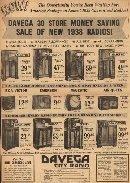 Davega's Radios – Now! The Opportunity You've Been Waiting For! Amazing Savings on Newest 1938 Guaranteed Radios! Davega 30 Store Money Saving Sale of New 1938 Radios (1938)