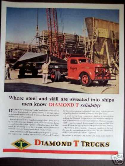 Diamond T Trucks and Crane Photo (1945)