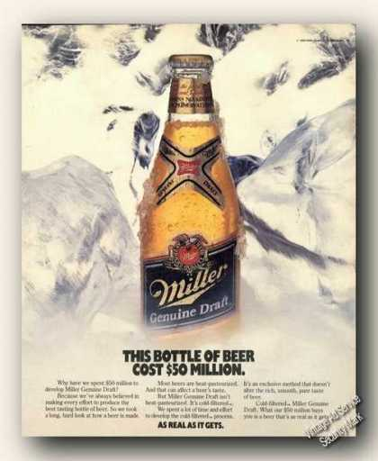 Miller Beer This Bottle Cost $50 Million Promo (1988)