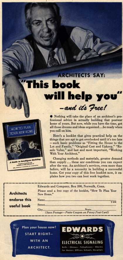 "Edwards and Company's free booklet – Architects Say: ""This book will help you"" (1944)"