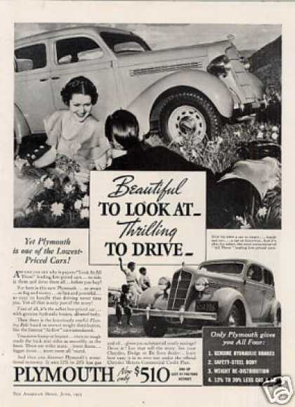 "Plymouth Car Ad ""Beautiful To Look At... (1935)"