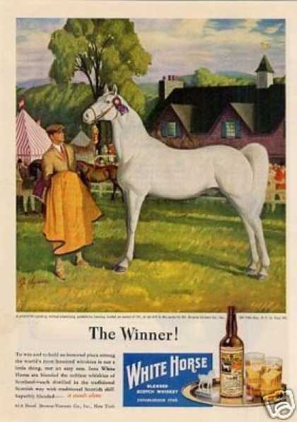 White Horse Scotch Whisky Ad Clymer Art (1946)