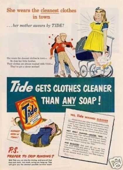 "Tide Soap Detergent Ad ""She Wears the Cleanest... (1951)"