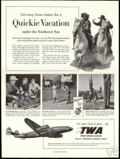 TWA Airlines Arizona Cactus Horse Photo (1948)