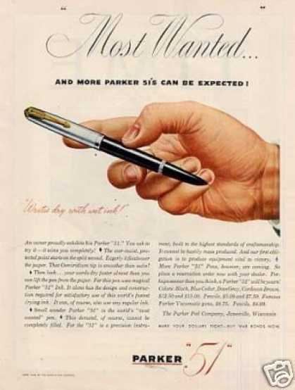 "Parker ""51"" Pen Ad ""Most Wanted... (1945)"
