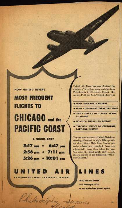 United Air Line's various destinations – Now United Offers MOST FREQUENT FLIGHTS TO CHICAGO and the PACIFIC COAST (1946)