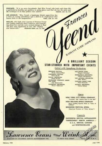 Frances Yeend Photo Opera Rare Ad Music (1948)