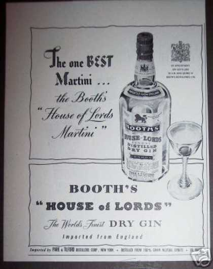 Booth's House of Lords Dry Gin (1951)