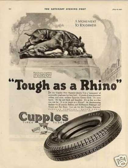 "Cupples Tires Ad ""Tough As a Rhino... (1927)"