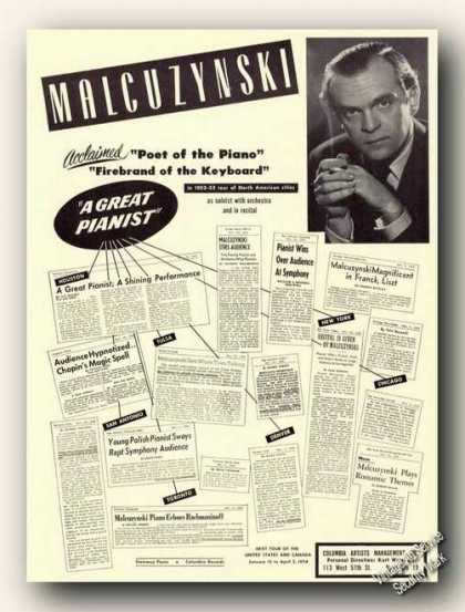 Witold Malcuzynski Photo Piano Ad Music (1953)
