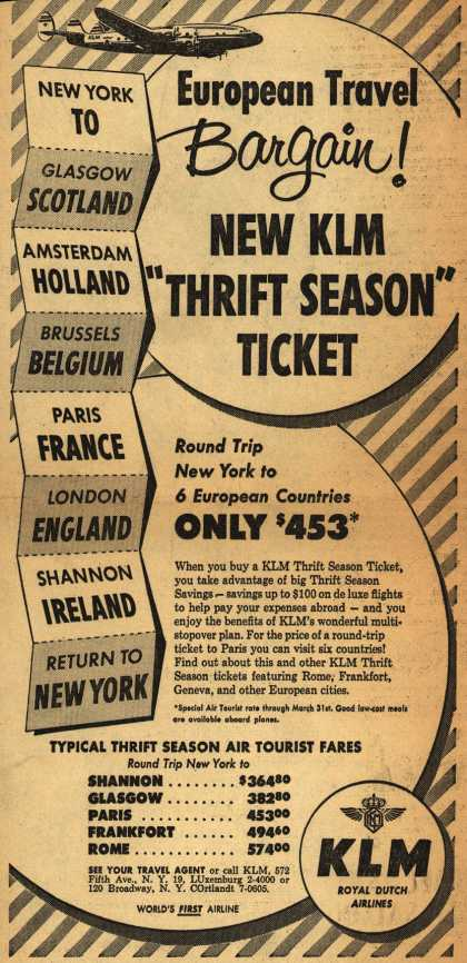 "KLM Royal Dutch Airline's Thrift Season Fares – European Travel Bargain! New KLM ""Thrift Season"" Ticket (1952)"
