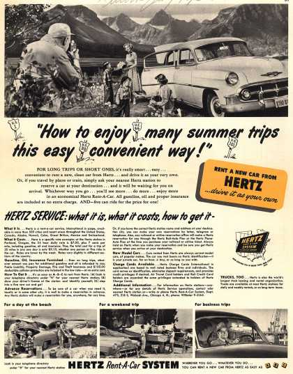 Hertz Rent-A-Car System's Hertz – How to enjoy many summer trips this easy convenient way (1953)