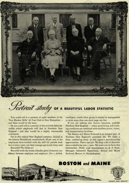 Boston and Maine Railroad's stable labor group – Portrait study OF A BEAUTIFUL LABOR STATISTIC (1946)