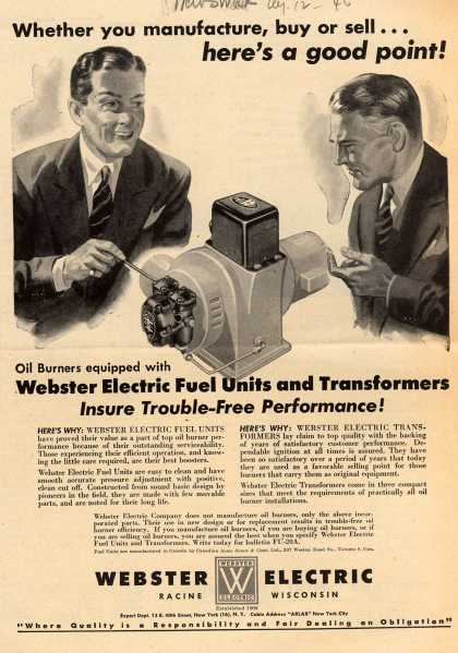 Webster Electric Company's Electric Transformers – Whether you manufacture, buy or sell... here's a good point (1946)