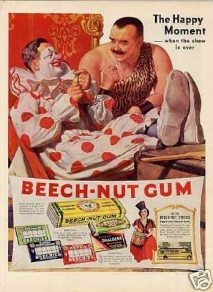 Beech-nut Chewing Gum Color Ad Clown (1937)