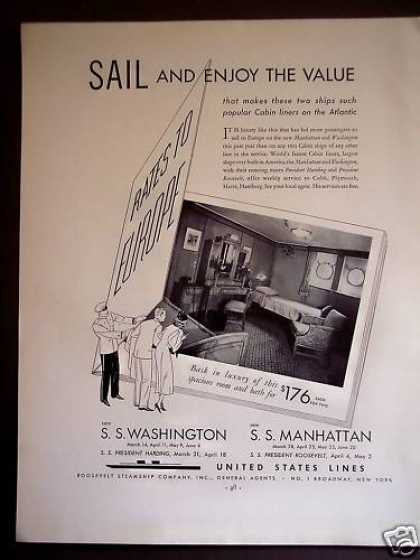 United States Lines Sailing Cruises Travel (1934)