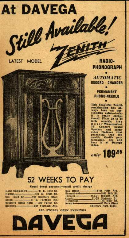 Zenith Radio's Radio – At Davega Still Available! Zenith (1943)