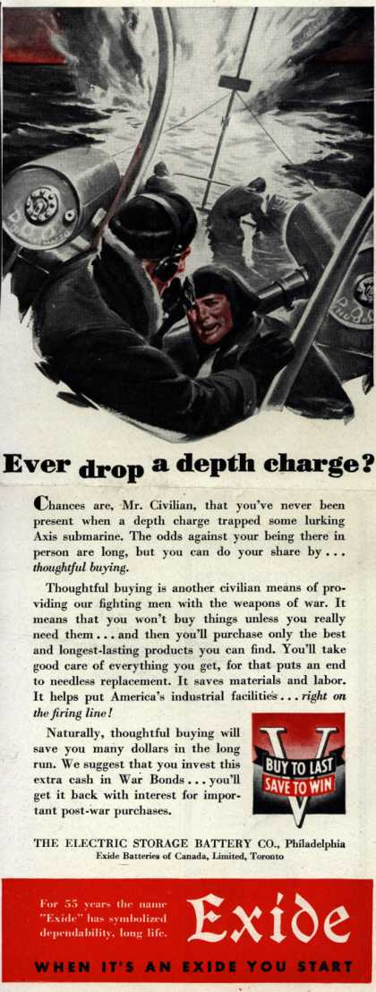 Electric Storage Battery Co. (Exide Batteries)'s War Bonds – Ever drop a depth charge? (1943)