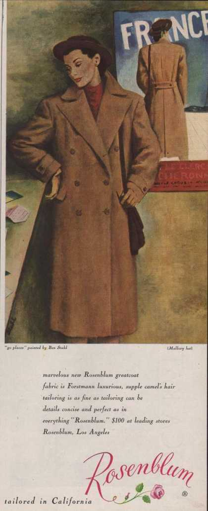 Rosenblum Womens Great Coat & Mallory Hat (1947)