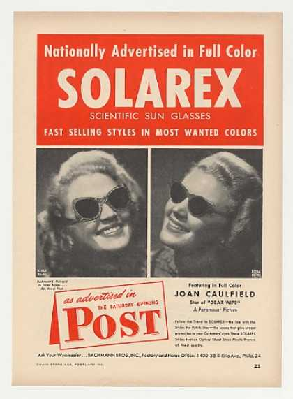 Joan Caulfield Solarex Sun Glasses Photo Trade (1949)
