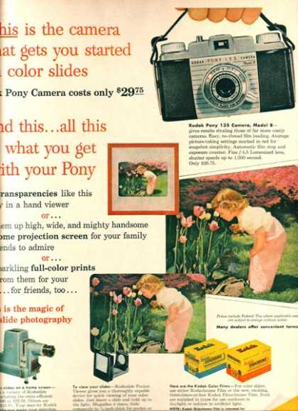 "Kodak Pony Camera's ""This is the camera that gets you started in color slides"" (1955)"