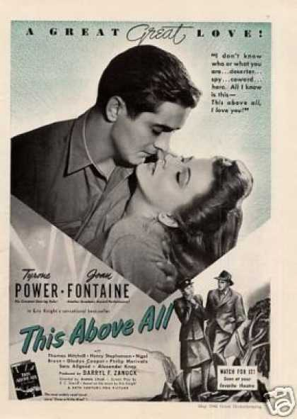 "Movie Ad ""This Above All"" Tyrone Power (1942)"