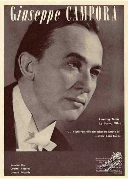 Giuseppe Campora Photo Leading Tenor La Scala (1962)