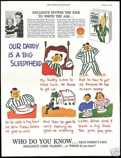 Kellogg's Corn Flakes Cereal Daddy Kids Write (1952)