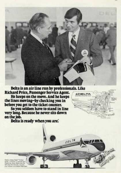Delta Airlines Ad With Route Map (1974)