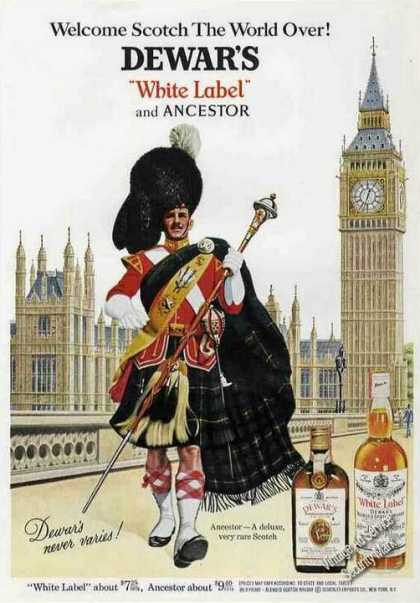Dewar's White Label & Ancestor Scotch Ad Nice Art (1967)