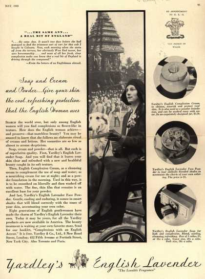 Yardley & Co., Ltd.'s English Lavender Cosmetics – Soap and Cream and Powder...Give your skin the cool refreshing protection that the English Woman uses (1930)