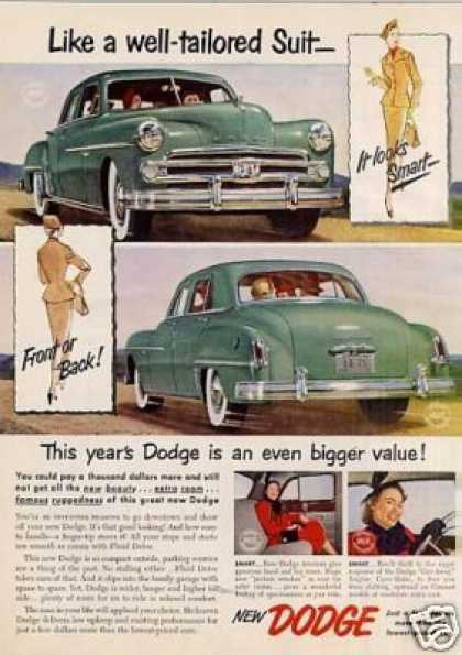 "Dodge Car Ad ""Like a Well-tailored Suit... (1950)"