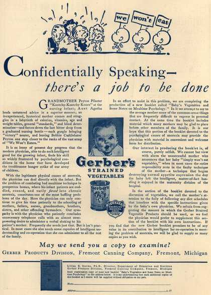 Gerber Products Division, Fremont Canning Company's Gerber Strained Vegetables – Confidentially Speaking – There's a Job to Be Done (1931)