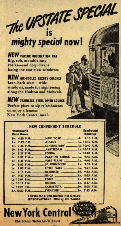 New York Central System's Upstate Special – The Upstate Special is mighty special now (1948)