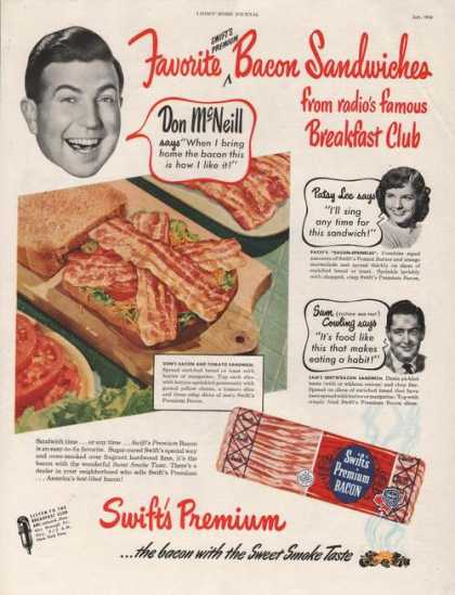 Swifts Premium Sweet Smoke Taste Bacon (1950)